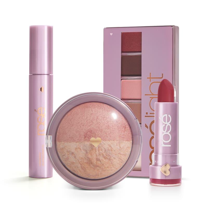 Kit Ame-se Rosé Light: Paleta Rosé Light + Batom + Máscara + Blush Rose