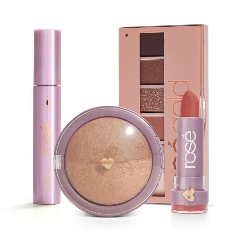 Kit Estrela Rosé Gold: Paleta Rosé Gold + Batom + Máscara + Blush Bronze
