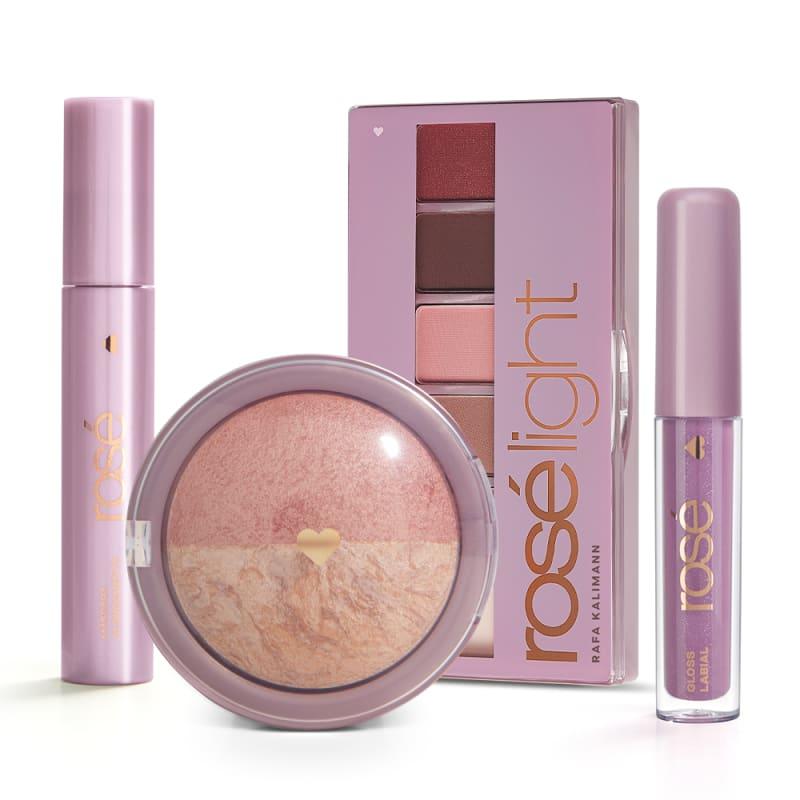 Kit Glossy Brilho Próprio Rosé Light: Paleta Rosé Light + Gloss + Máscara + Blush Rose
