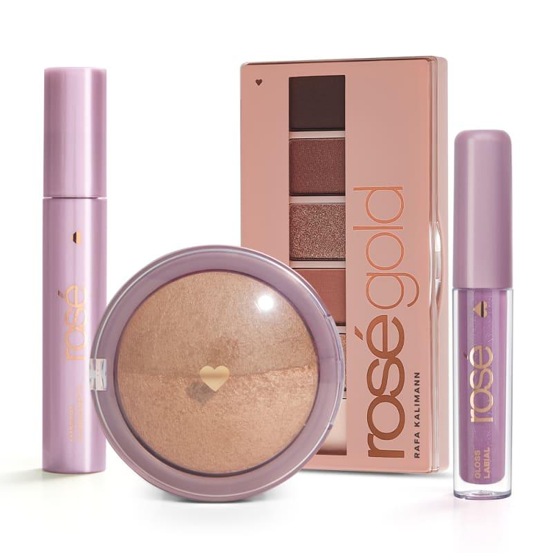 Kit Glossy Brilho Próprio Rosé Gold: Paleta Rosé Gold + Gloss + Máscara + Blush Bronze
