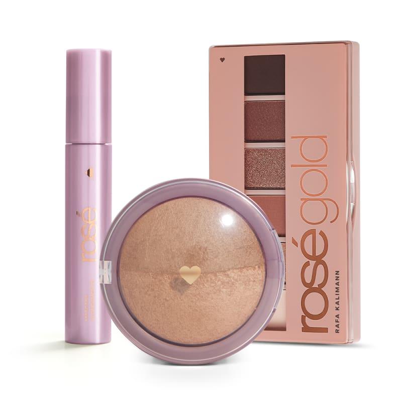 Kit Alongamento & Rosé Gold: Paleta Rosé Gold + Máscara + Blush Bronze