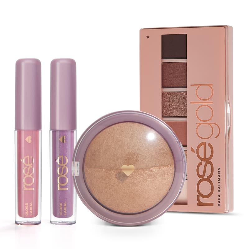 Kit Super Glossy & Rosé Gold: Paleta Rosé Gold + Blush + Gloss Rose Brilho Próprio + Avelã Iluminado