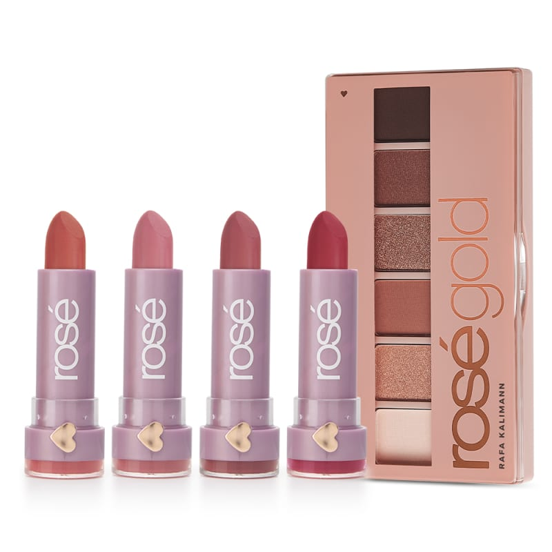 Kit que Ilumina Rosé Gold: Paleta Rosé Light + Vermelho Ame-se + Rose Seja Luz + Avelã Haja Amor + Malva Estrela