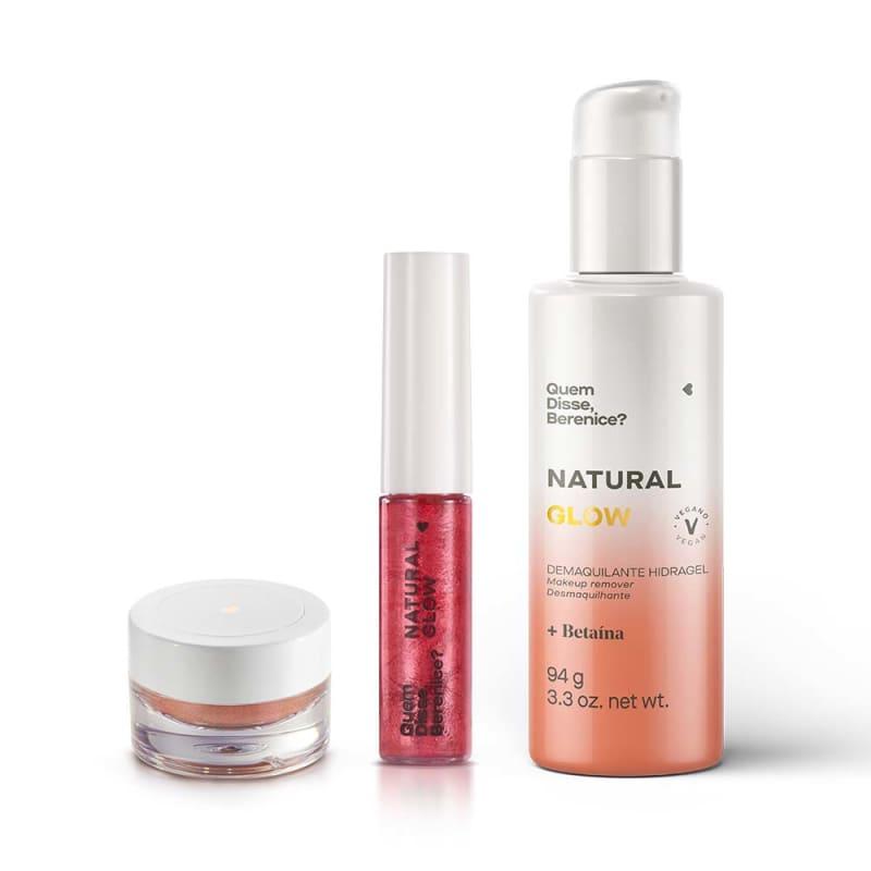 Combo Natural Glow: Demaquilante Hidragel + Iluminador e Sombra Champagne + Tint Glow Coral