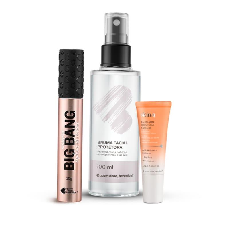 Kit  Máscara Cílios Big Bang + Bruma Facial +  Skin.q Balm Hidratação e Volume