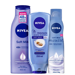 NIVEA Soft Milk Hidratação Profunda Trio (3 Produtos)