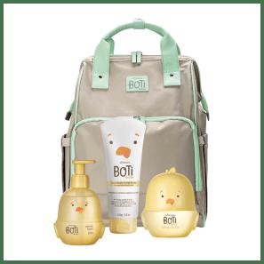 Combo Boti Baby Maternidade: Mochila + Colônia do Sol + Sabonete Líquido + Loção Hidratante
