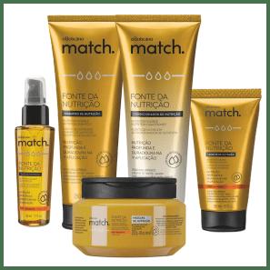 Combo Match Fonte da Nutrição Fios Grossos: Shampoo + Condicionador + Máscara Capilar + Creme para Pentear + Óleo Capilar