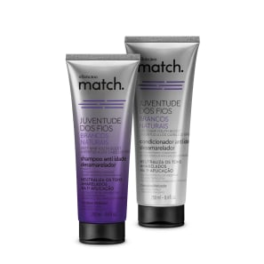 Combo Match Juventude dos Fios Brancos Naturais: Shampoo Anti-Idade Desamarelador 250ml + Condicionador Anti-Idade Desamarelador 250ml