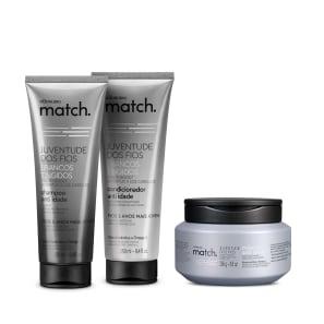 Combo Match Juventude dos Fios Brancos Tingidos: Shampoo Anti-Idade 250ml + Condicionador Anti-Idade 250ml + Máscara 250g