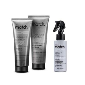 Combo Match Juventude dos Fios Brancos Tingidos: Shampoo Anti-Idade 250ml + Condicionador Anti-Idade 250ml + Spray Volumador 100ml