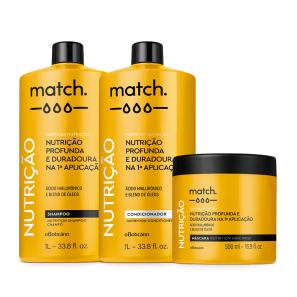 Combo Match Fonte da Nutrição: Shampoo 1L + Condicionador 1L + Máscara Capilar 500ml