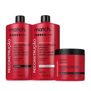 Combo Match SOS Reconstrução: Shampoo 1L + Condicionador 1L + Máscara Capilar 500ml