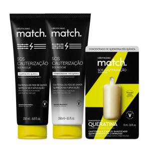 Combo Match SOS Cauterização Pós-Química: Shampoo 250ml + Condicionador 250ml + Concentrado de Queratina 15ml
