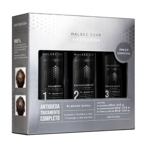 Kit Tratamento Malbec Club Antiqueda: Shampoo 250ml + Condicionador 250ml + Tônico Capilar 100ml
