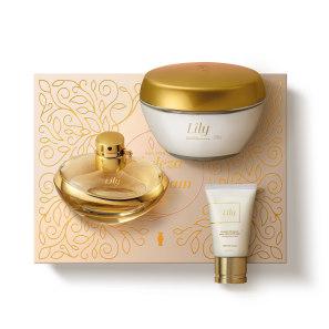 Kit Presente Lily: Eau de Parfum 75ml + Creme Acetinado 250g + Creme de Mãos 50g
