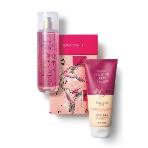 Kit Presente Dia dos Namorados Cuide-se Bem Beijinho: Body Splash 200ml + Loção Corporal 200ml + Caixa de Presente