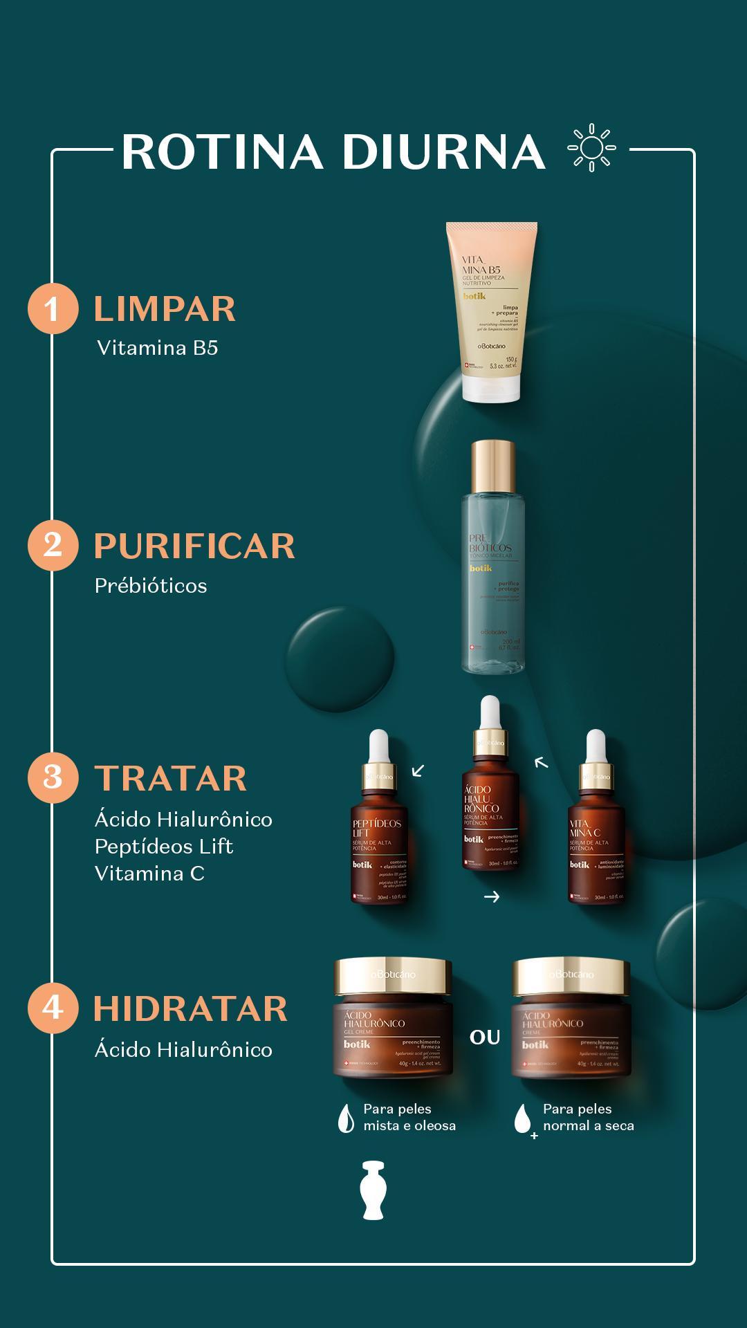 Guia de skincare diurno com produtos do Boticário
