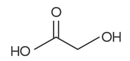 Estrutura química do ácido glicólico.