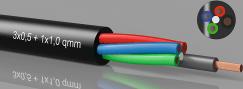 LED-kabel, RGB, 3x0,5mm² + 1x1.0mm²