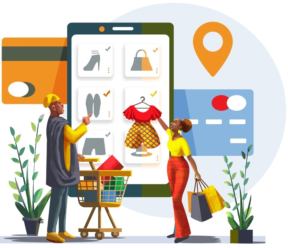 Illustration of customers using the app