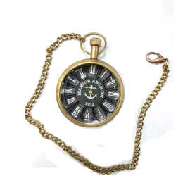 handmade vintage designed pocket watch with long chain Black Dial