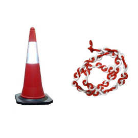 Bellstone PVC Traffic Safety Cone (Pack of 5) With 5 Meter Chain
