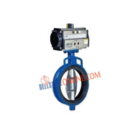 ISO 5211 PNEUMATIC ACTUATOR OPERATED DOUBLE ACTING BUTTERFLY VALVE WITH NITRILE RUBBER MOULDED