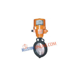 ON-OFF TYPE ELECTRICAL SINGLE PHASE 220V AC OPERATED CAST IRON BODY BUTTEFLY VALVES WITH NITRILE RUBBER MOULDED WITH WHEEL TYPE MAUNAL OVERIDE