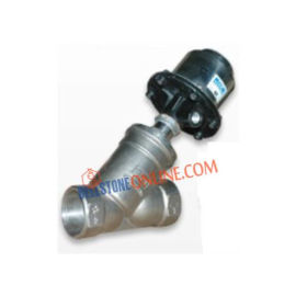 2/2 WAY PNEUMATIC CYLINDER OPERATED ANGLE TYPE SS 304 BODY ON/OFF CONTROL VALVE NORMELY CLOSED