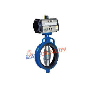 "ISO 5211 PNEUMATIC ACTUATOR OPERATED DOUBLE ACTING ""CI BODY & S.STEEL 316 DISC"" PN 10 BUTTERFLY VALVE WITH NITRILE RUBBER MOULDED"