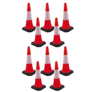 Bhi PVC Safety Cone (Pack of 10) (Traffic/Parking/Outdoor)