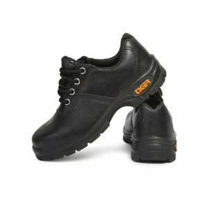 Tiger Waterproof Steel Toe PU Sole Black Safety Shoes with Leather Material