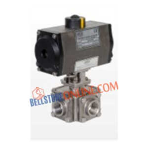 "ISO 5211 PNEUMATIC ACTUATOR DOUBLE ACTING OPERATED SS 316 BALL VALVES ""3 WAY"" SCREWED END WITH HOLLOW BALL"