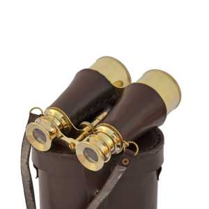 BELLSTONE BINOCULAR BRASS AND LEATHER SIZE 6""