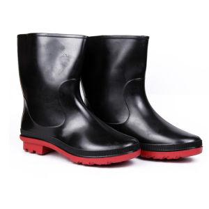 Hillson Don Plain Round Toe Black & Red Gumboots