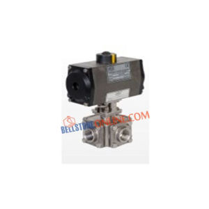 "ISO 5211 PNEUMATIC ACTUATOR OPERATED SS BALL VALVES ""4 WAY"" SCREWED END WITH HOLLOW BALL"