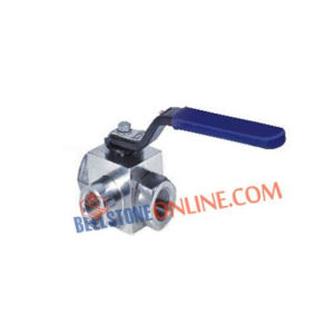 HIGH PRESSURE AWA SERIES SS 304 3 WAY HANDLE OPERATED BALL VALVE SCREWED END