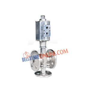 """3/2 WAY PNEUMATIC CYLINDER OPERATED STRAIGHT TYPE """"MIXING & DIVERTING"""" ON / OFF CONTROL VALVES UPTO 10 BAR FLANGED END"""