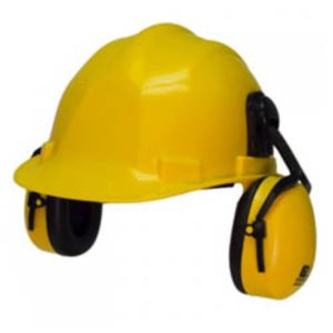 SAFETY HELMET WITH EAR MUFF YELLOW COLOR
