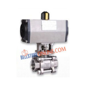 "ISO 5211 PNEUMATIC DOUBLE ACTING ACTUATOR OPERATED SCREWED END ""METAL SEATED"" 2 WAY SS 316 BALL VALVES"