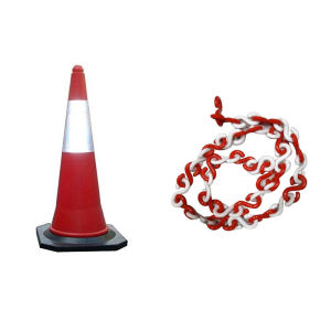 Bellstone PVC Traffic Safety Cone (Pack of 2) With 3 Meter Chain