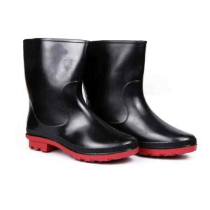 Hillson Don Plain Round Toe Black & Red Gumboots