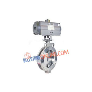 "ISO 5211 PNEUMATIC ACTUATOR ROTARY OPERATED DOUBLE ACTING ""SS 316 BODY & S.STEEL DISC 316"" WITH SPHERICAL DISC VALVE REPLACEABLE SEAL DESIGN 150 CLASS"