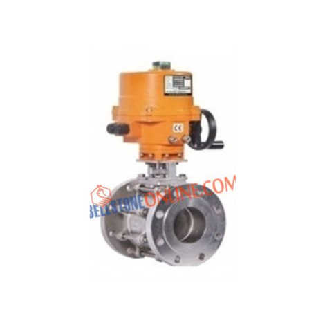 SS 304 BALL VALVES 3 PIECE DESIGN FLANGED ON-OFF TYPE SINGLE PHASE 220V AC OPERATED INVESTMENT CASTING WITH WHEEL TYPE MANUAL OVERRIDE