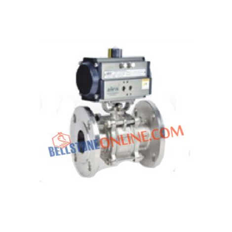 "PNEUMATIC ACTUATOR DOUBLE ACTING 2 WAY SS 316 BALL VALVES FLANGED END 150 CLASS ""3 PIECE DESIGN"" WITH HOLLOW BALL"