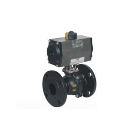 "PNEUMATIC ACTUATOR DOUBLE ACTING 2 WAY CS BALL VALVES FLANGED END 300 CLASS FLOATING TYPE BALL ""3 PIECE DESIGN"" WITH HOLLOW BALL"