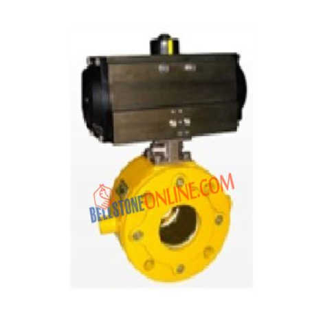 DOUBLE ACTING ISO 5211 PNEUMATIC ACTUATOR OPERATED CAST STEEL JACKETED BALL VALVE WAFER TYPE