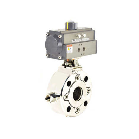 DOUBLE ACTING ISO 5211 PNEUMATIC ACTUATOR OPERATED JACKETED BALL VALVE SS BALL VALVES WAFER TYPE