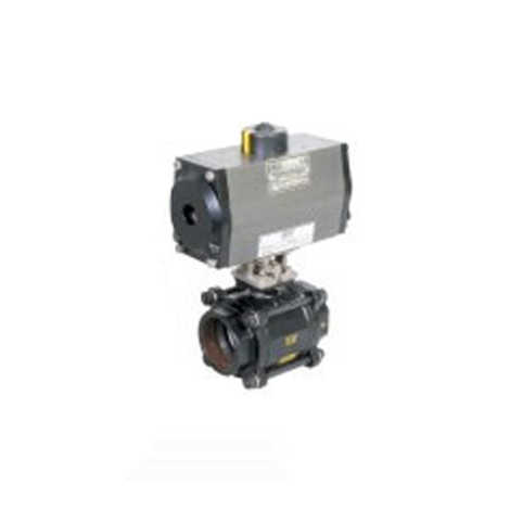 PNEUMATIC ACTUATOR DOUBLE ACTING OPERATED 2 WAY CAST STEEL BALL VALVES IBR SCREWED END